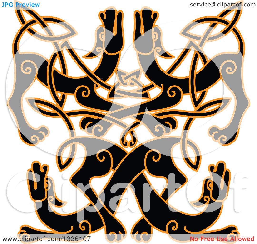 1080x1024 Clipart Of A Black Celtic Wild Dog Knot Outlined In Orange