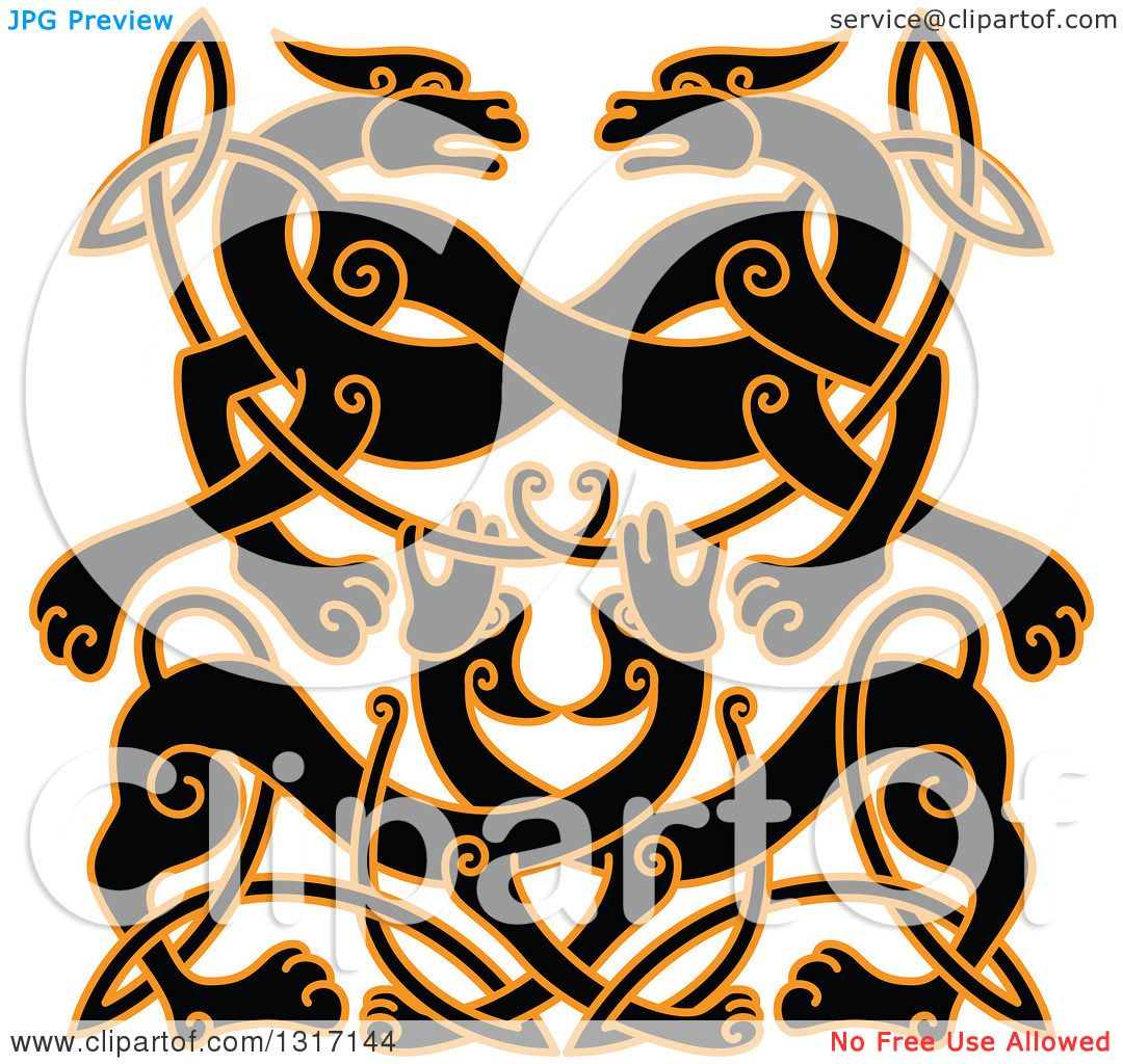 1080x1024 Clipart Of A Black And Orange Celtic Knot Wolf Or Dog Design