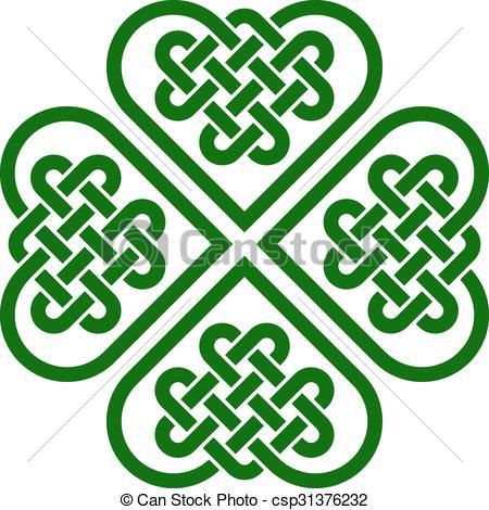 450x470 Four Leaf Clover Shaped Knot Made Of Celtic Heart Shape Vectors