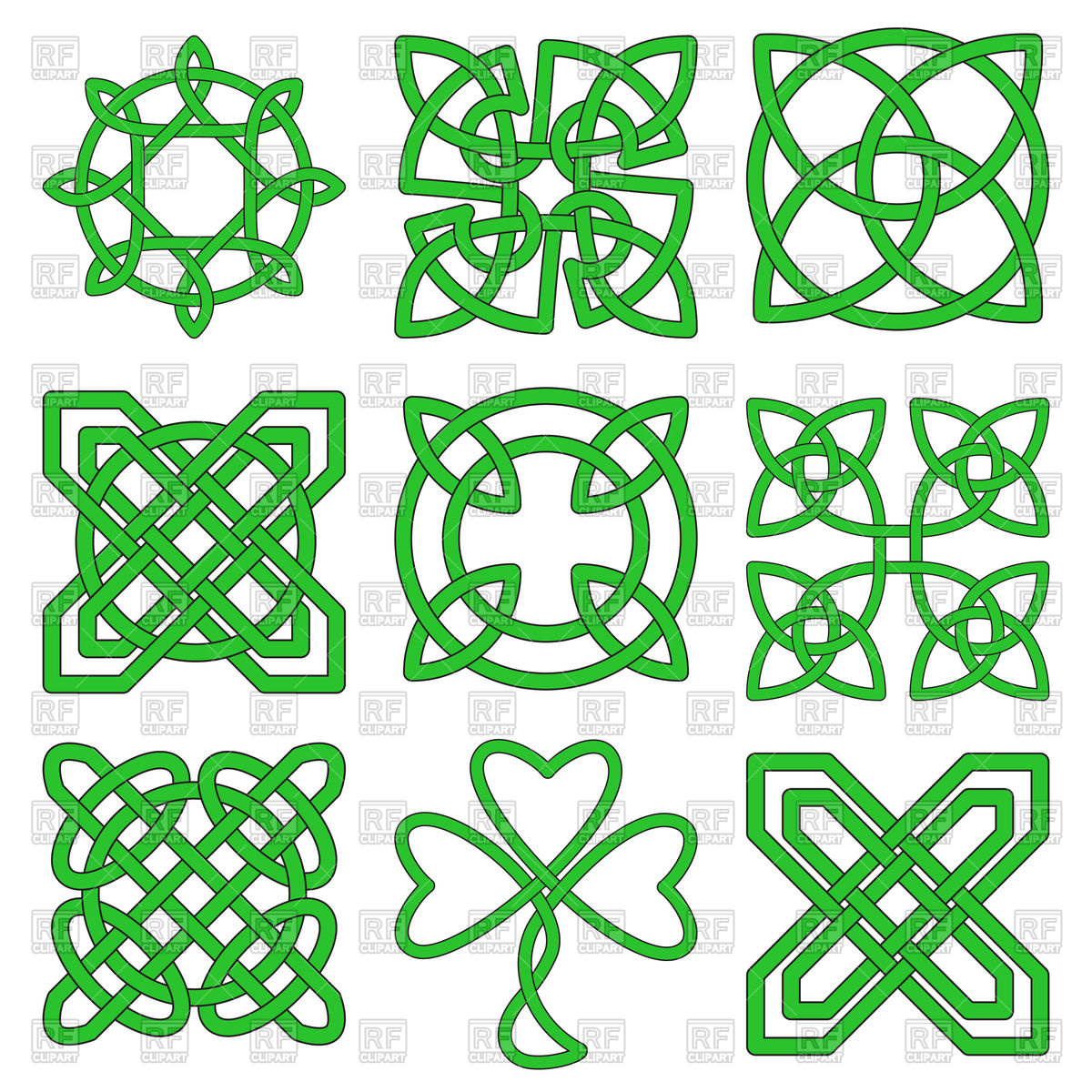 1200x1200 Green Celtic Knots Royalty Free Vector Clip Art Image