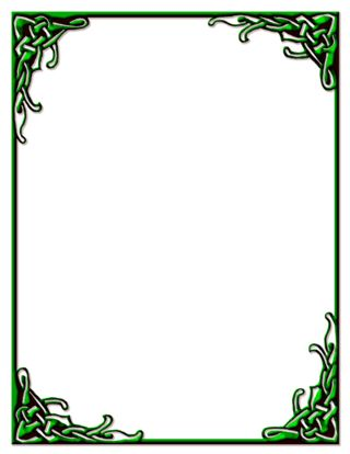 320x414 Celtic Knot Border Green Stationery Print Ready Pdf File