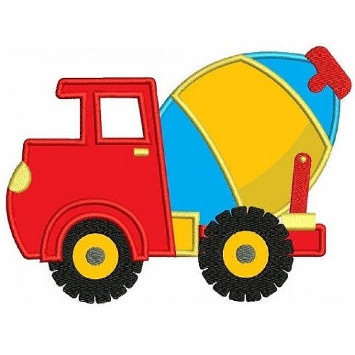 700x700 Instant Download Cement Truck Machine Embroidery Applique Design