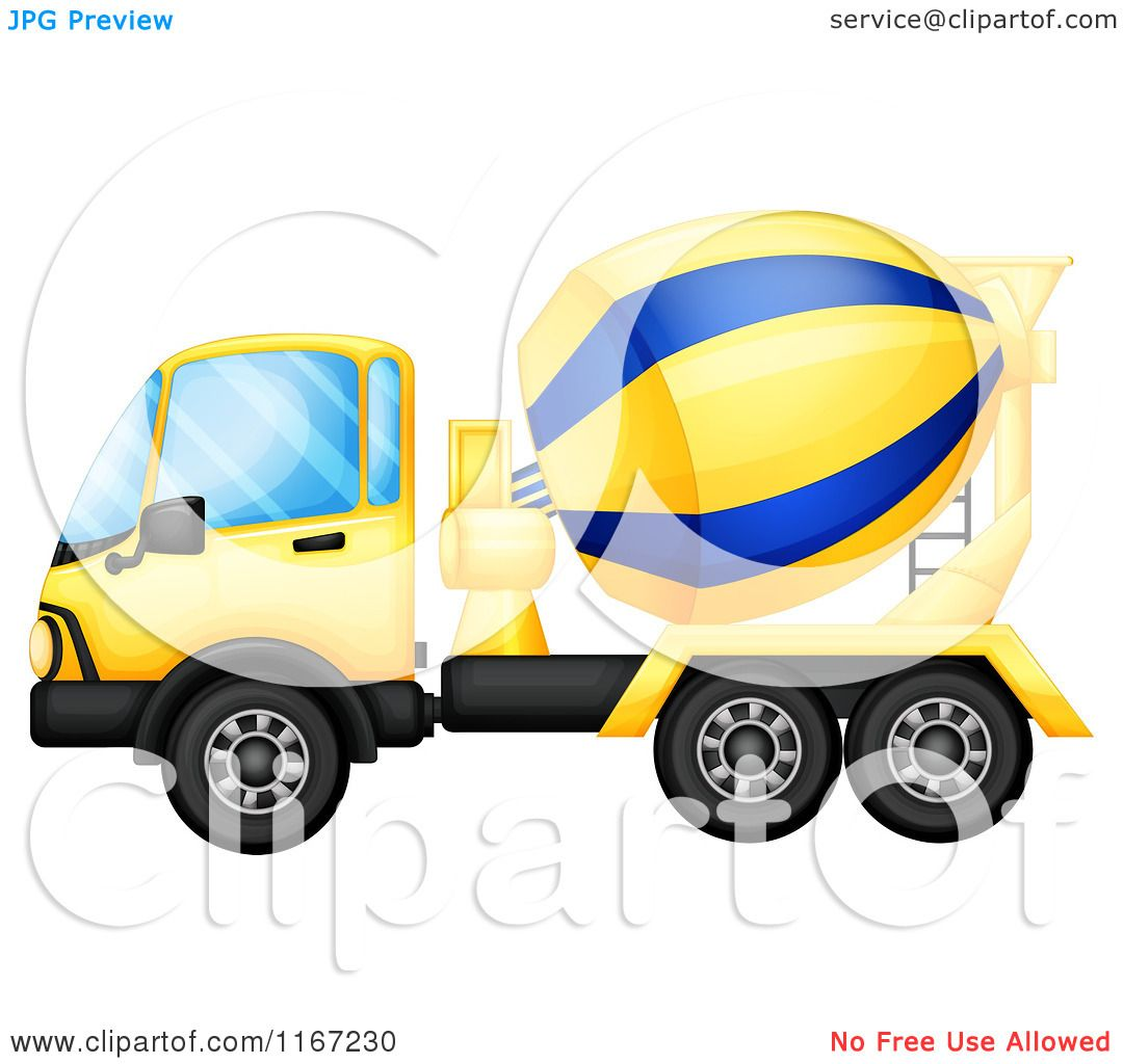 1080x1024 Cartoon Of A Yellow And Blue Cement Truck