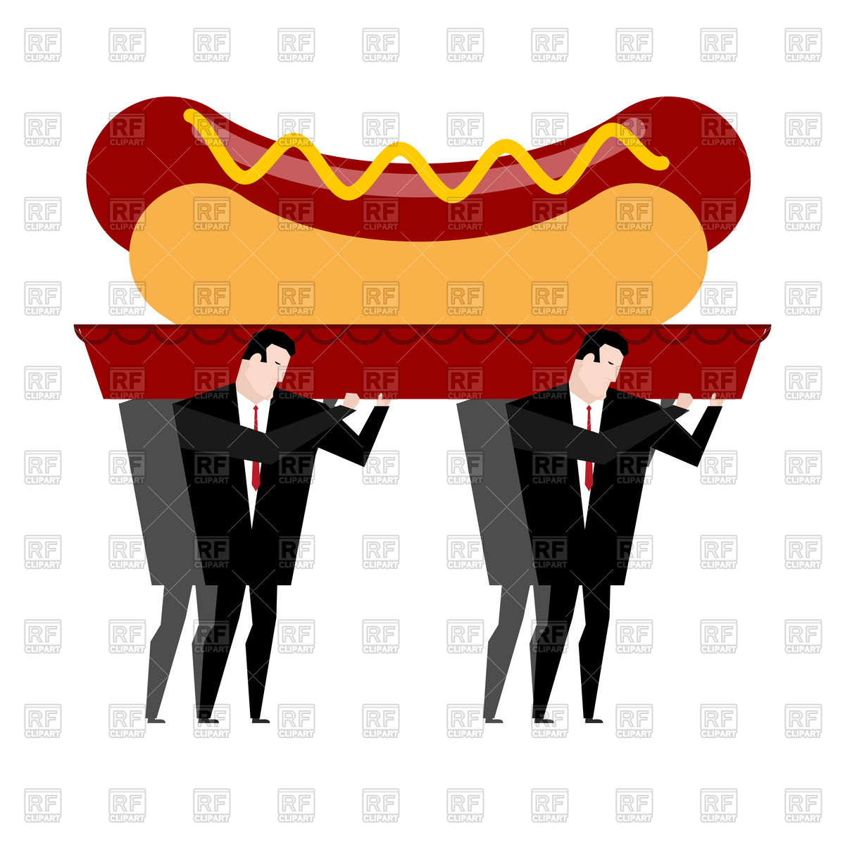 1200x1200 Funeral Of Hot Dog. Fast Food Is Carried In Coffin. Royalty Free
