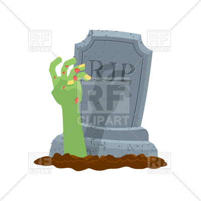 400x400 Halloween. Grave And Hand Of Zombie. Royalty Free Vector Clip Art