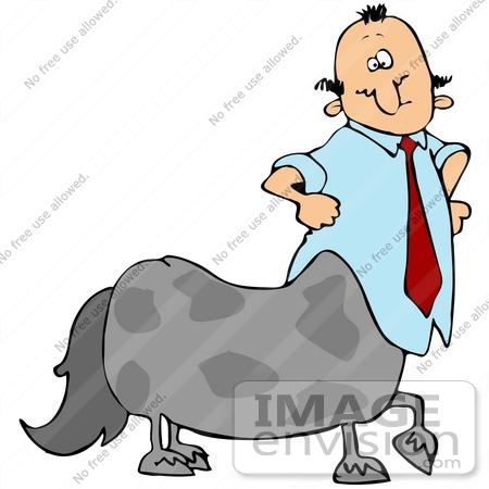 450x450 Clip Art Graphic Of A Centaur Businessman Wearing A Tie