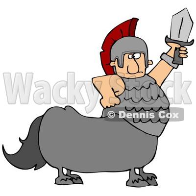 400x400 Clipart Illustration Of Roman Soldier Centaur Man Holding Up