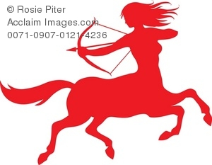 300x233 The Red Silhouette Of A Female Sagittarius Symbol Royalty Free