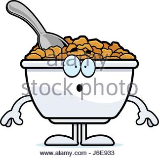 322x320 A Cartoon Illustration Of A Bowl Of Cereal Looking Sad Stock
