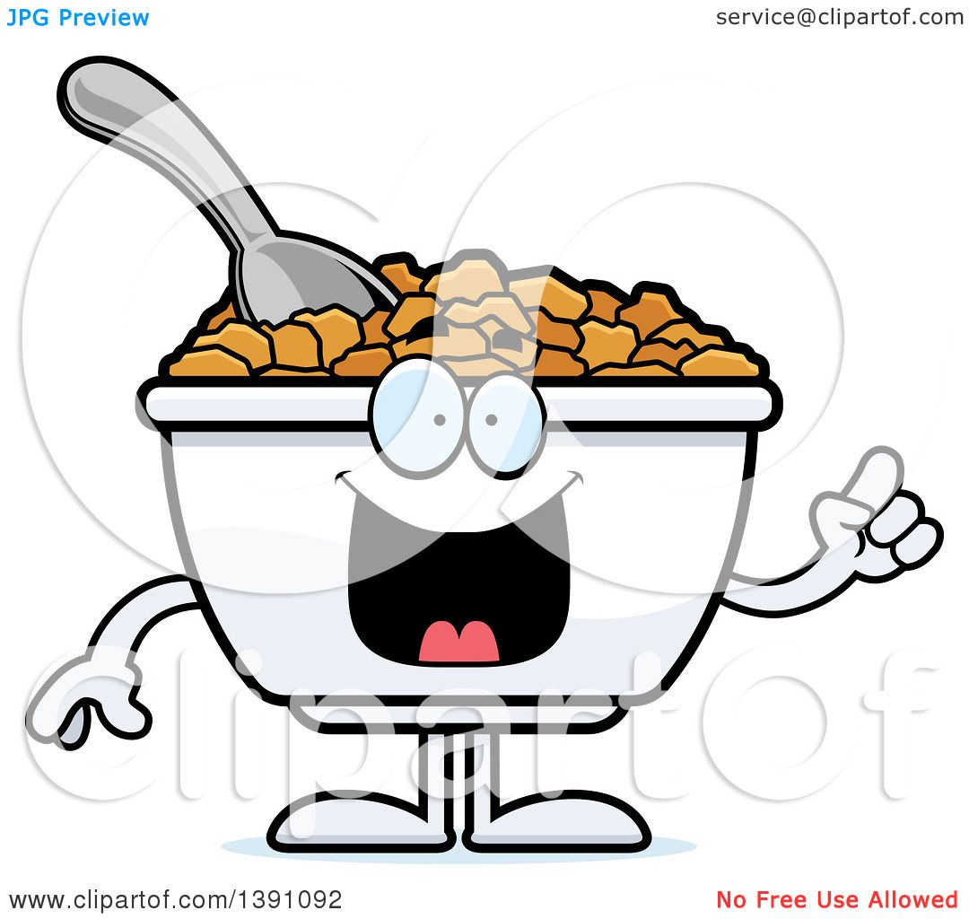 1080x1024 Clipart Of A Cartoon Friendly Waving Bowl Of Corn Flakes Breakfast