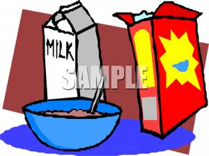 300x224 Royalty Free Clipart Image A Bowl And Box Of Cereal With A Carton