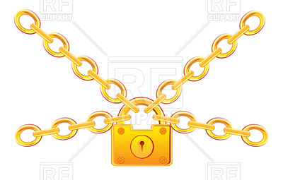 400x255 Lock From Gold On Chain Royalty Free Vector Clip Art Image