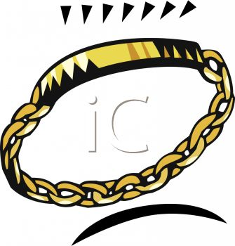 335x350 Picture Of A Gold Chain Bracelet On A White Background In A Vector