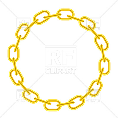 400x400 Yellow Chain Round Frame Royalty Free Vector Clip Art Image