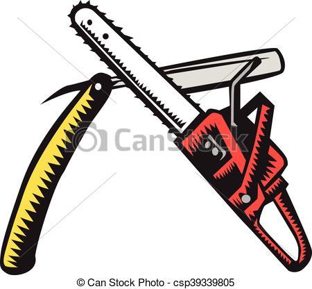 450x416 Chainsaw Straight Razor Crossed Woodcut. Illustration