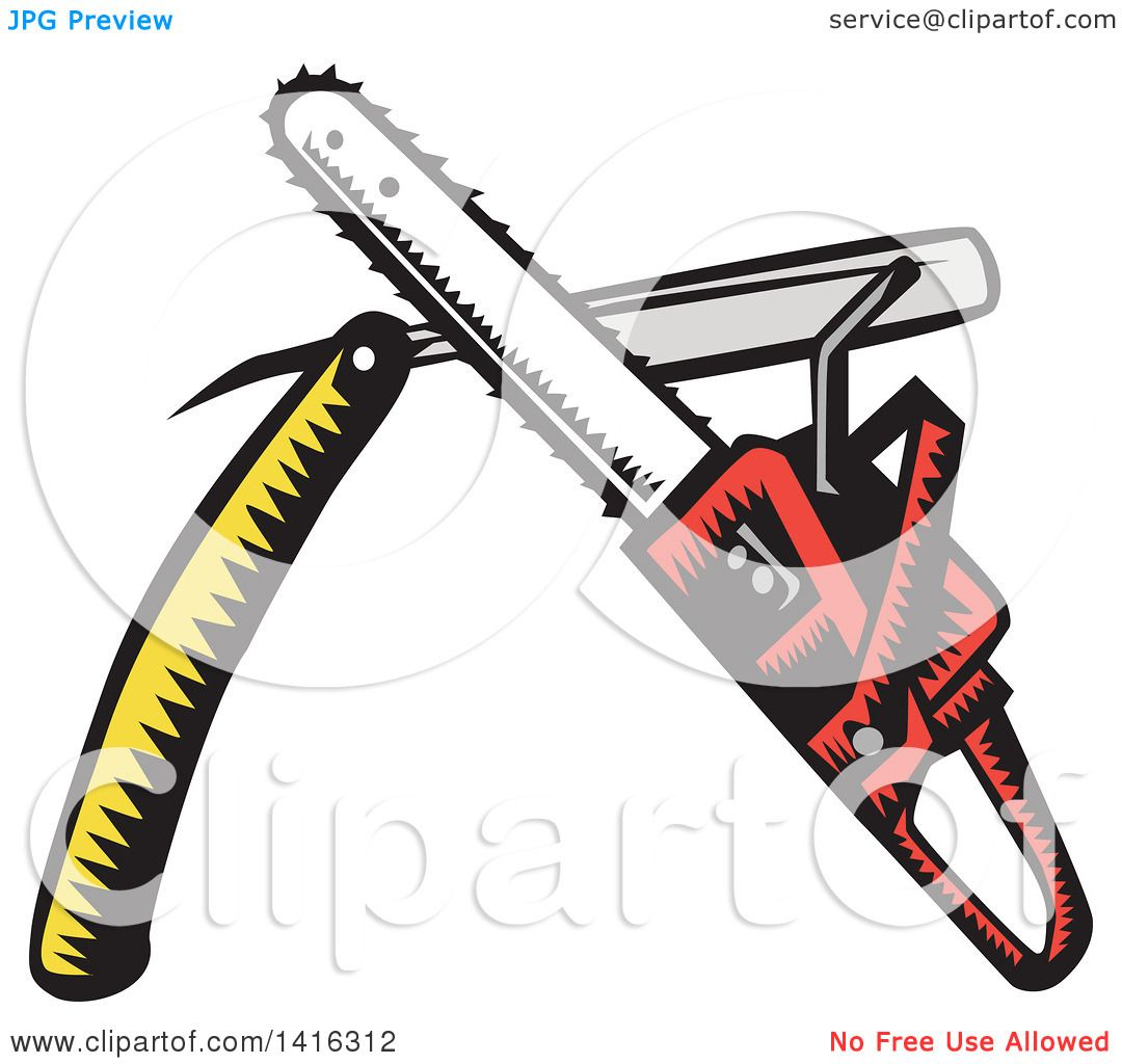 1080x1024 Clipart Of A Retro Woodcut Crossed Chainsaw And Straight Razor