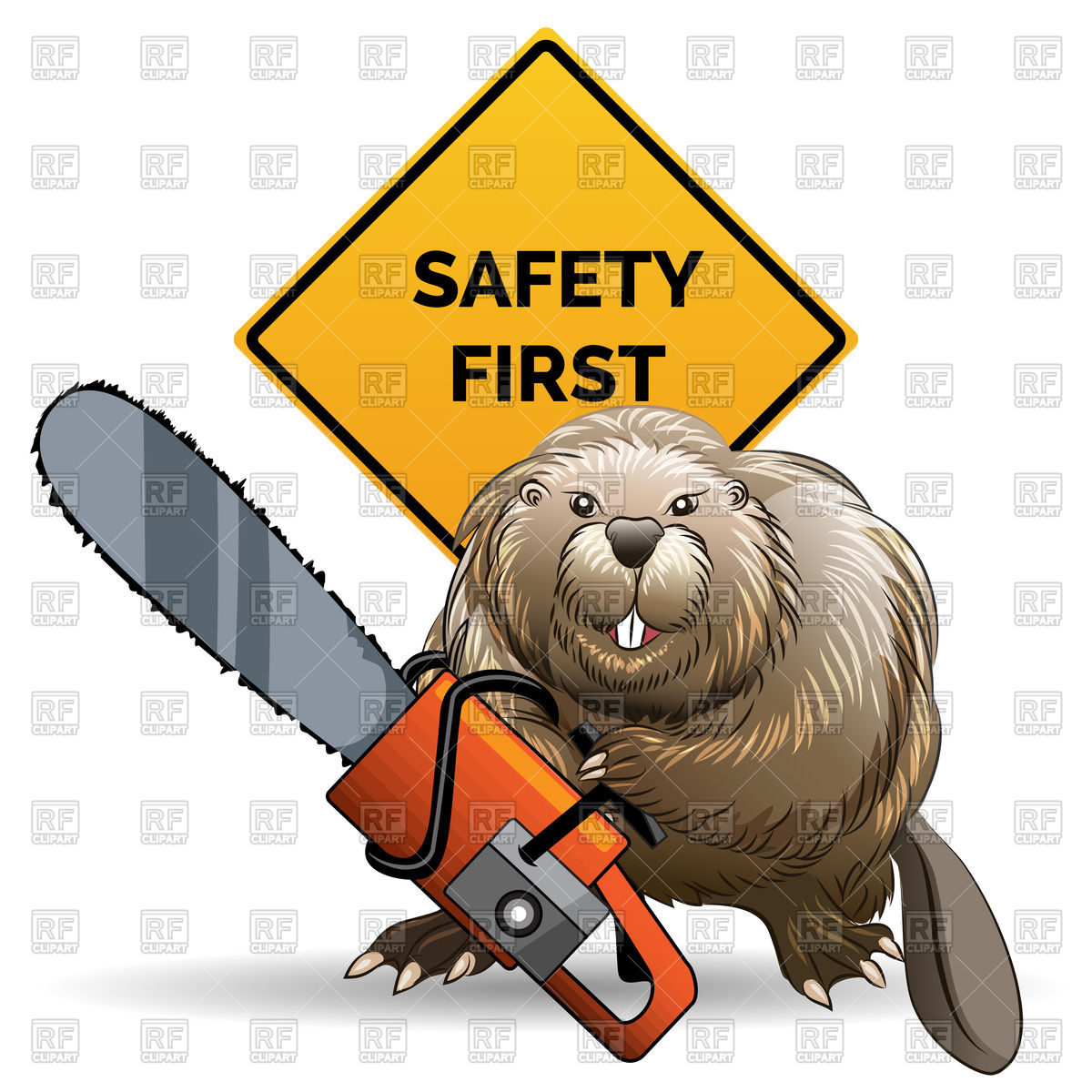 1200x1200 Beaver With Chainsaw Against Sign With Wording Safety First Vector