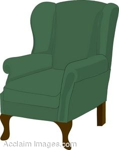 237x300 Clip Art Of A Wing Back Armchair With Green Upholstery