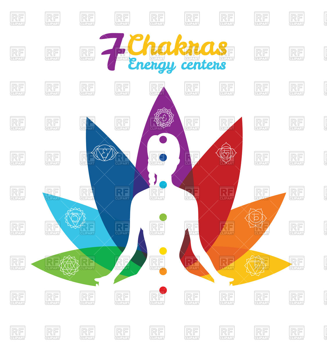 1125x1200 Color Chakras With Woman In Pose Of Lotus Vector Image Vector