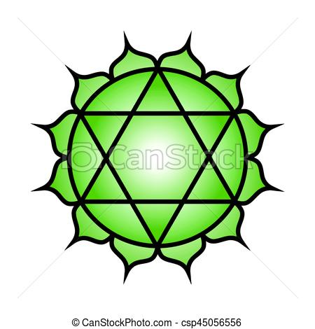 450x470 Seven Major Chakras. Anahata Symbol. Heart Chakra Is Clipart