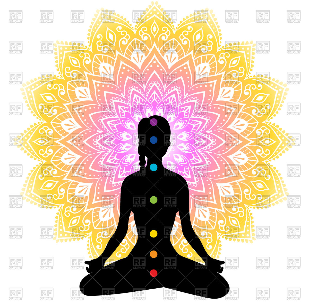 1200x1183 Woman's Chakras With Colorful Mandala Vector Image Vector