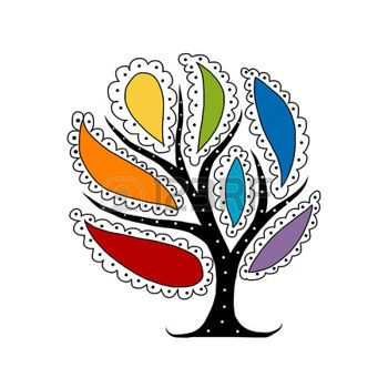 350x350 Chakra Art Tree With Colorful Petals For Your Design. Vector