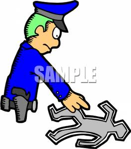 264x300 Clip Art Image A Homicide Detective Studying A Chalk Outline