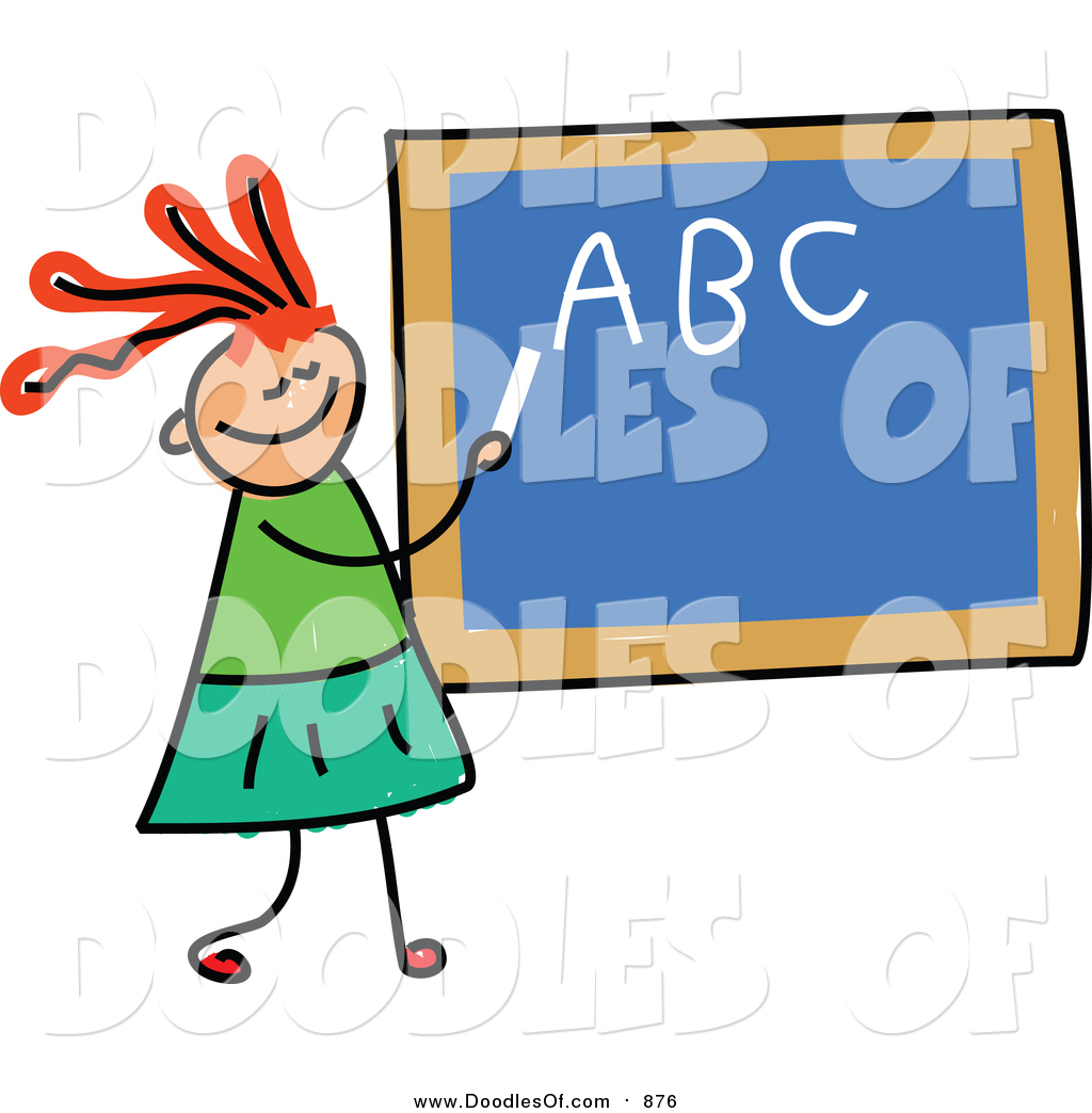 1024x1044 Vector Clipart Of A Doodled Red Haired White Girl Writing Her Abcs