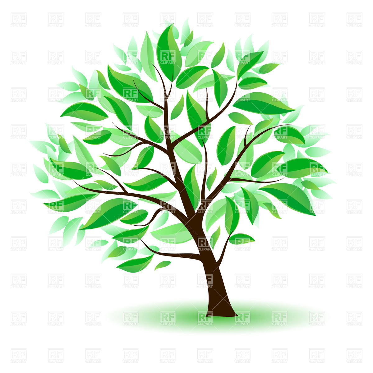1200x1200 Challenge Cartoon Picture Of A Tree With Green Leaves Royalty Free