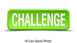 300x168 Challenge Green 3d Realistic Square Isolated Button Stock