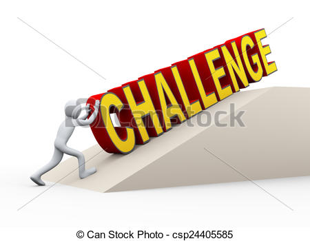 450x350 3d Man Pushing Challenge Word. 3d Illustration Of Person Stock