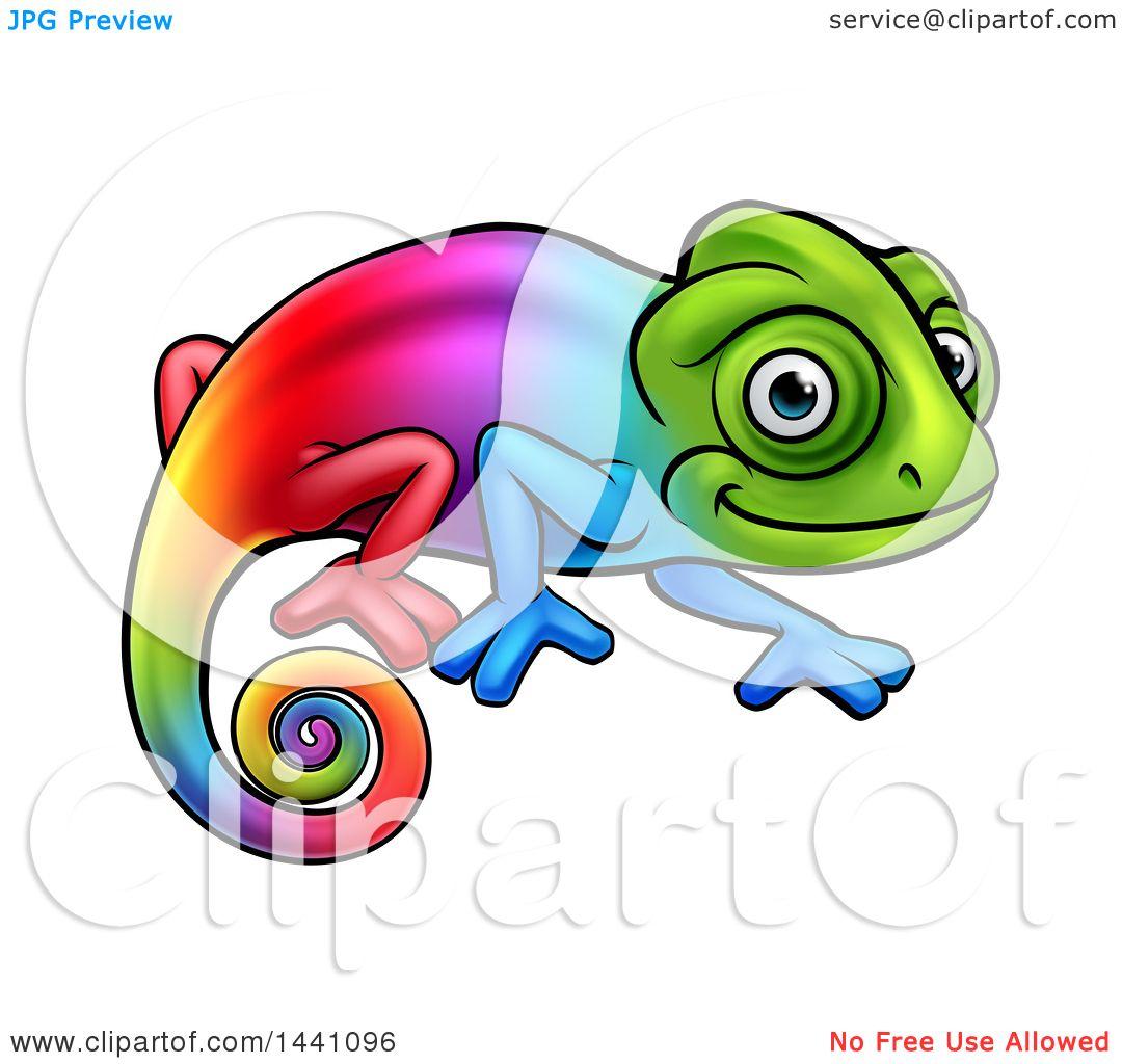 1080x1024 Clipart Of A Cartoon Happy Rainbow Chameleon Lizard
