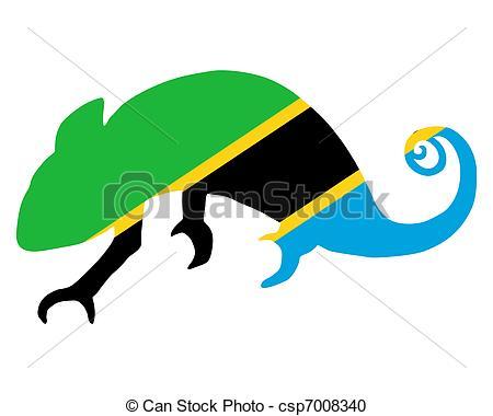 450x380 Tanzania Chameleon Vector Clipart