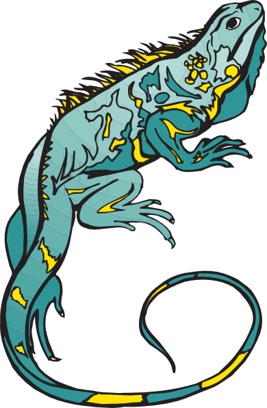 390x596 Blue And Yellow Chameleon Clip Art