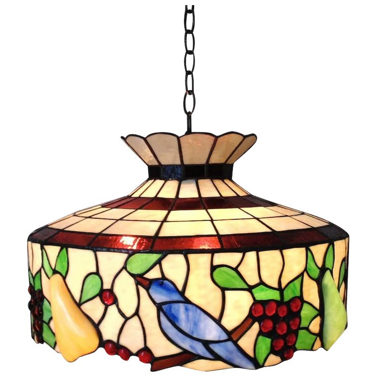 740x740 Large Stained Glass Chandelier Birds Fruit Light Fixture Sold