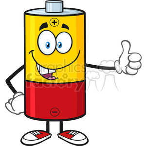 300x300 Royalty Free Royalty Free Rf Clipart Illustration Funny Battery
