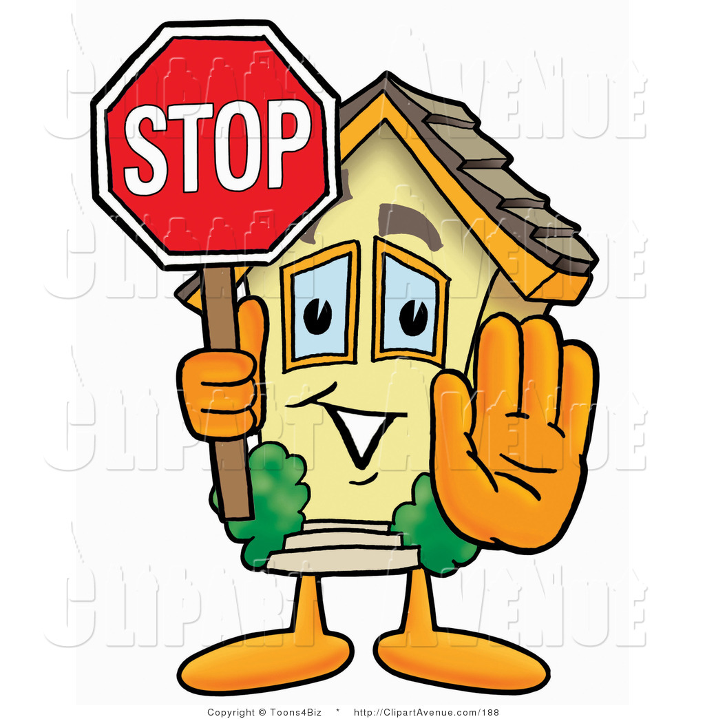 1024x1044 Avenue Clipart Of A Home Mascot Cartoon Character Holding A Stop