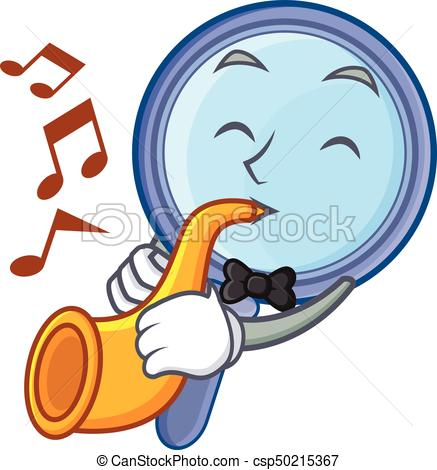 437x470 With Trumpet Magnifying Glass Character Cartoon Vector Clip Art