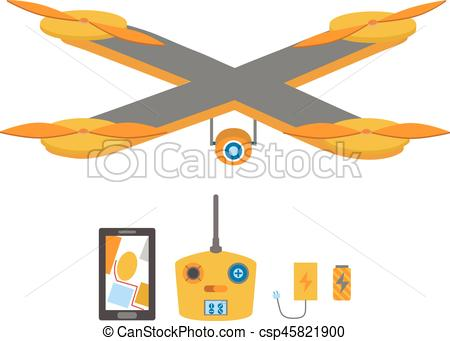 450x341 Bright Quadrocopter, Remote Control, Navigation System, Vector