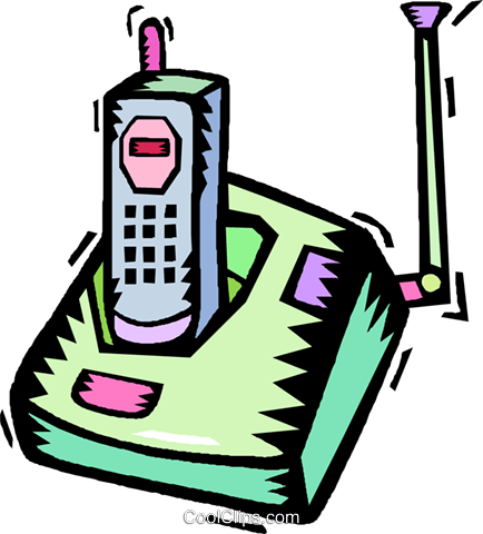 434x480 Portable Telephone With Charger Royalty Free Vector Clip Art
