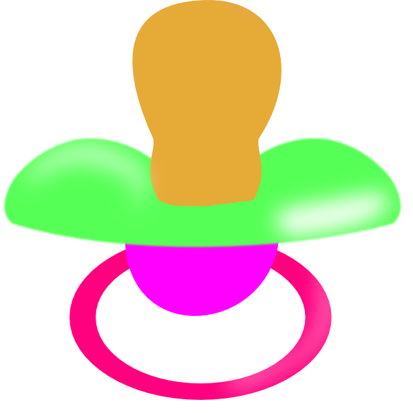 600x600 Green And Pink Pacifier Green Clip Art