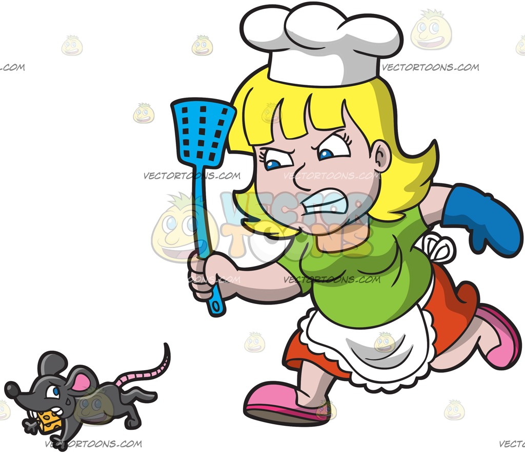 1024x886 A Lady Cook Chasing After A Rat Cartoon Clipart Vector Toons