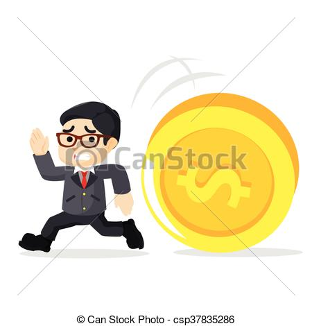 450x470 A Businessman Running In The Chase By Coin Vector