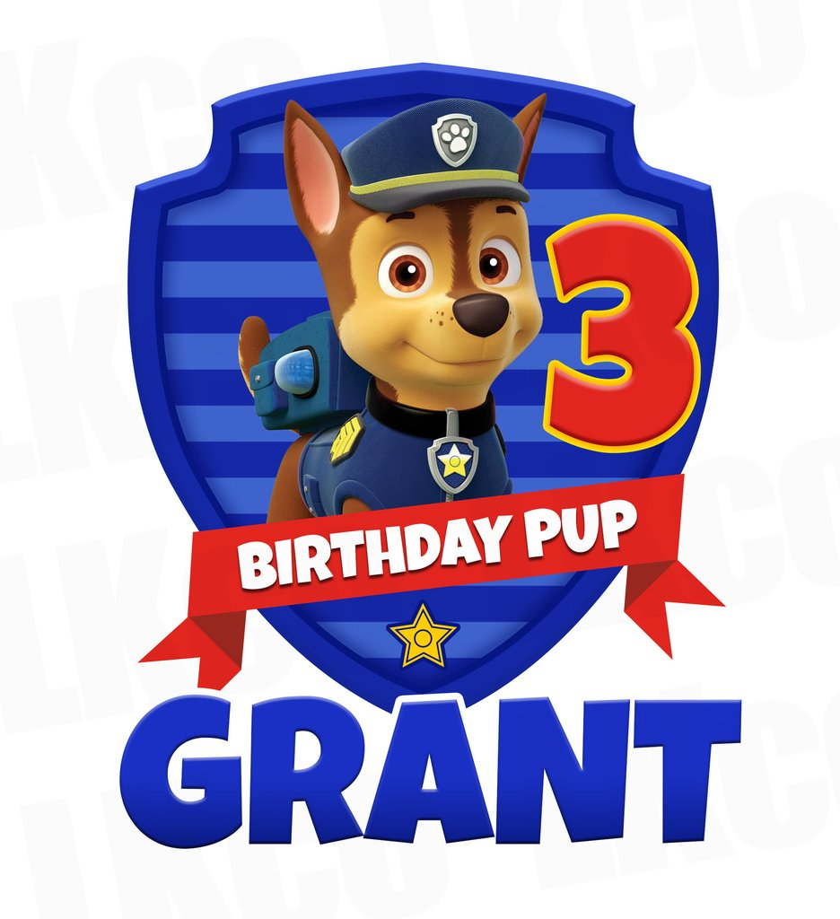 936x1024 Paw Patrol Iron On Transfer Chase Pup