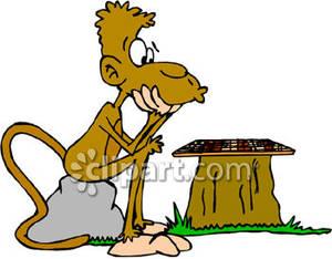 300x234 Cartoon Monkey Playing Checkers