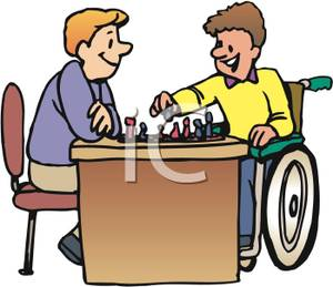 300x259 Clip Art Image A Boy And A Boy In A Wheelchair Playing Chess
