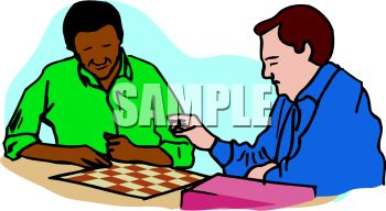 350x192 Two Men Playing Checkers Clip Art