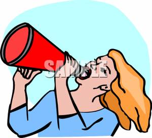 300x273 A Cheerleader Yelling Into A Megaphone