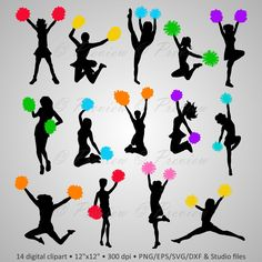 236x236 Silhouette Clip Art Picture Showing Cheerleaders Many Poses