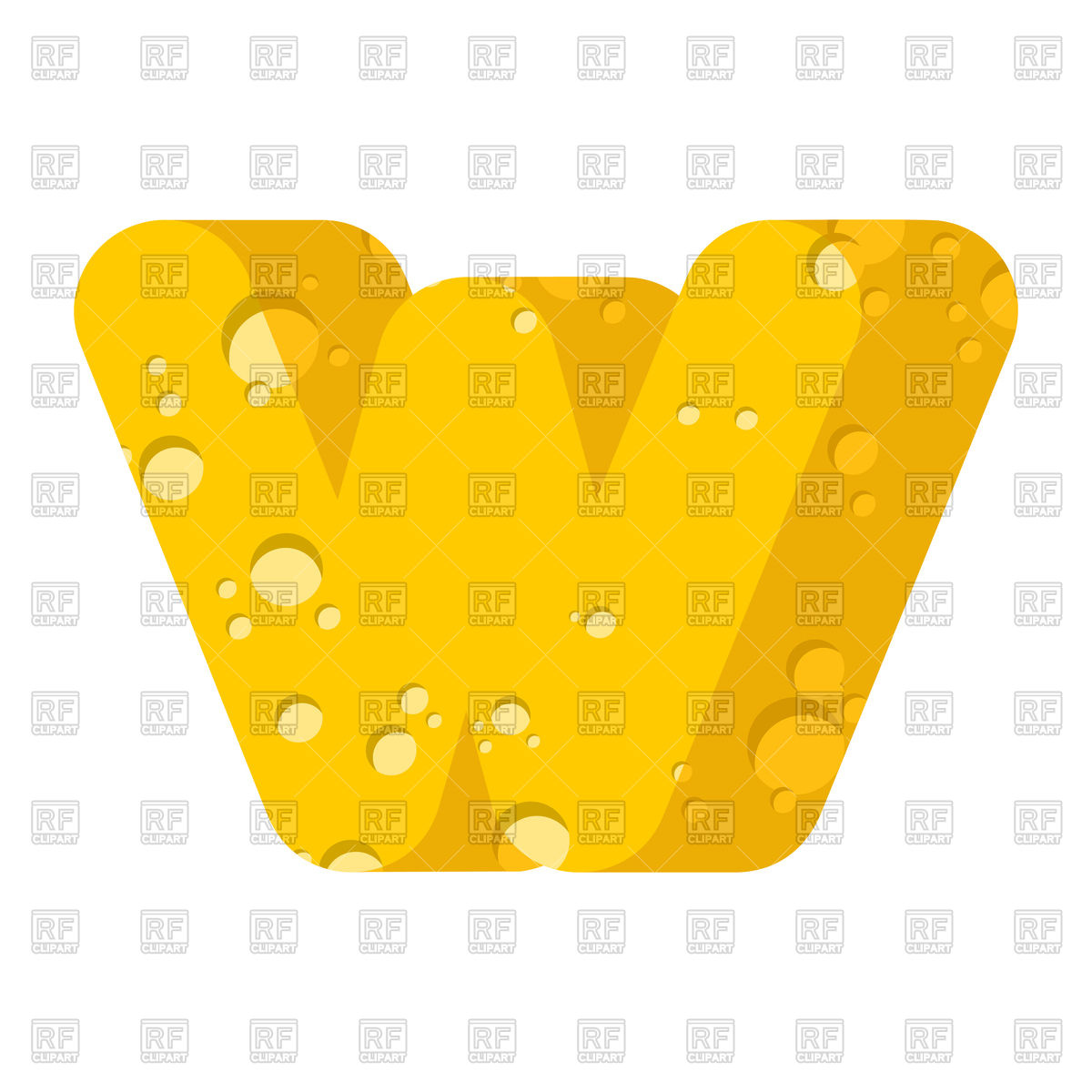 1200x1200 Letter W Cheese Font Royalty Free Vector Clip Art Image